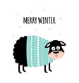 winter card with cute sheep isolated on white vector image