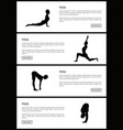 yoga black and white banner poses set vector image