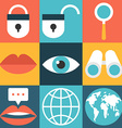 Set of flat design icons Lock search globe message vector image
