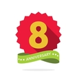 Eight anniversary badge with shadow red starburst vector image