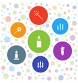 7 glow icons vector image vector image