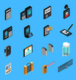access identification isometric icons vector image vector image