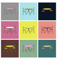 assembly flat icons chairs and table vector image vector image
