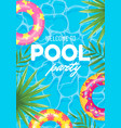 banner swimming pool party welcome top view vector image vector image