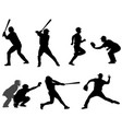 baseball silhouettes collection 3 vector image vector image
