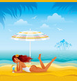 Beach background with beautiful tan girl lazing vector image vector image