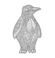 beautiful zen art with decorative cartoon penguin vector image vector image