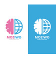 Brain and world logo combination education