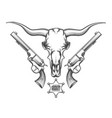 bull skull with revolvers drawn in engraving style vector image vector image