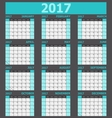 Calendar 2017 week starts on Sunday light green vector image