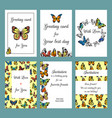 cards with butterflies design template cards vector image vector image