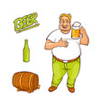 cartoon beer lover and symbols set vector image vector image