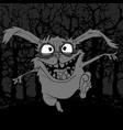 cartoon scary rabbit in horror jumping in the dark vector image vector image