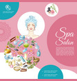 cartoon spa salon composition vector image vector image