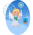 christmas cute angel with star staff vector image vector image