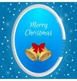Christmas round tag with gold bell and red bow on vector image