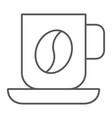 coffee mug thin line icon food and drink cup vector image vector image