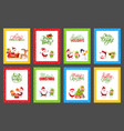 collection christmas cards with cute santa vector image vector image