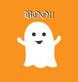 cute halloween ghost saying boo on orange vector image