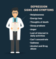 depression signs and symptoms doctor with medical vector image
