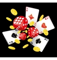 Dices aces and coins vector image vector image