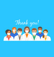 doctors team in face masks with thank you text vector image