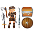 Female viking with weapons and chest vector image vector image