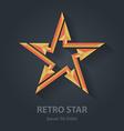 flat color 3d retro star logo sport international