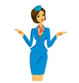 Flight Attendant Showing Emergency Exits on Plane vector image vector image