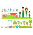 gardener characters garden tools flat vector image vector image