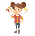 girl standing under question and exclamation mark vector image vector image