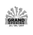 gray grand opening emblem vector image vector image