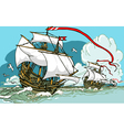 Great Discoveries - Three Galleons Sailing vector image