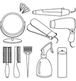 Hair accessories and barber tools line icons vector image vector image