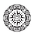 hand drawn vintage compass tattoo artwork vector image vector image