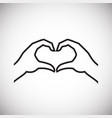 hands heart gesture thin line on white background vector image