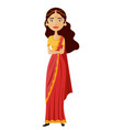 indian business woman character isolated on vector image