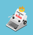isometric typewriter with a crown and words vector image vector image