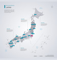 japan map with infographic elements pointer marks vector image