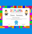 kids diploma preschool elementary school design vector image