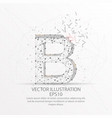 letter b form low poly wire frame on white vector image vector image