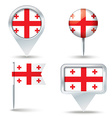 Map pins with flag of Georgia vector image vector image