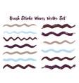 mottled brush stroke waves set vector image vector image
