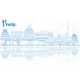 Outline Pune Skyline with Blue Buildings vector image vector image