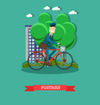 postman in flat style vector image vector image