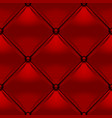 red button-tufted leather background vector image