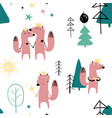 seamless pattern with fairytale fox vector image vector image
