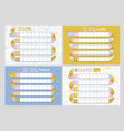 set 4 school timetables timetable lessons vector image