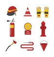 set firefighter fire safety icons vector image vector image
