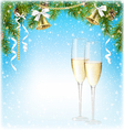 Shiny Christmas Background with Sparkling Wine vector image vector image
